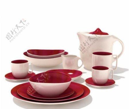 陶瓷碟子陶瓷碗茶壶杯子碟子054带贴图