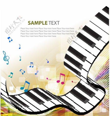 炫彩动感线条钢琴音符音乐背景图片