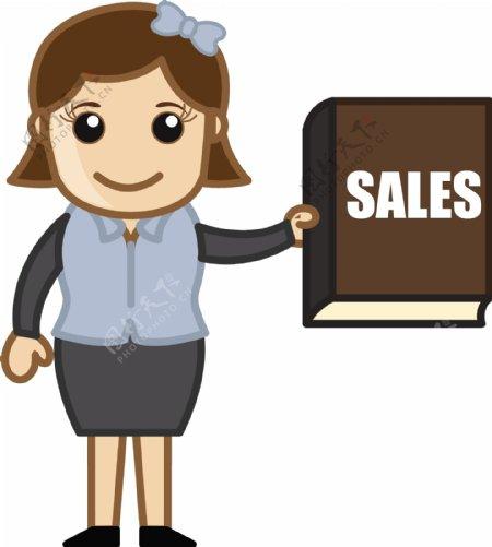 销售报告卡通商业矢量插图