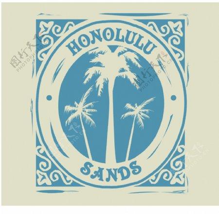 印花矢量图椰树英文牙色群青色免费素材