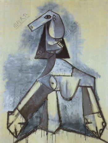 1941Femmeengrisetblanc西班牙画家巴勃罗毕加索抽象油画人物人体油画装饰画