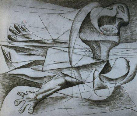 1934Lanageuse西班牙画家巴勃罗毕加索抽象油画人物人体油画装饰画