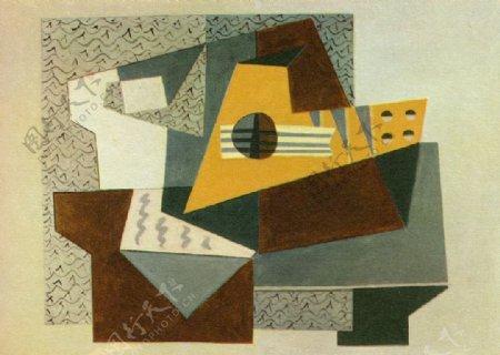 1920Guitare西班牙画家巴勃罗毕加索抽象油画人物人体油画装饰画