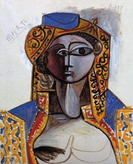1955JacquelineRoqueencostumeturc西班牙画家巴勃罗毕加索抽象油画人物人体油画装饰画