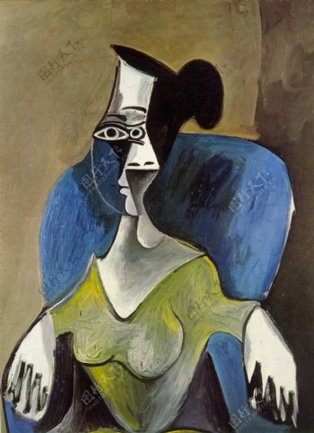 1962Femmeassisedansunfauteuilbleu西班牙画家巴勃罗毕加索抽象油画人物人体油画装饰画