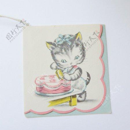 吊牌动物猫生活元素蛋糕免费素材