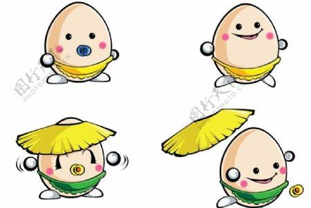 卡通矢量鸡蛋吉祥物图片