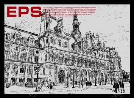 欧式建筑矢量剪影图片