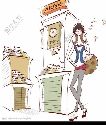 韩国矢量时尚女郎图片