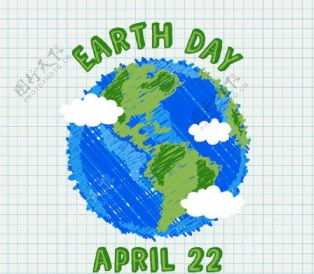 彩绘蓝色地球矢量图图片