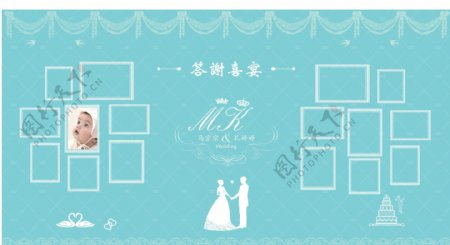 达芙尼蓝婚礼背景照片排版图片