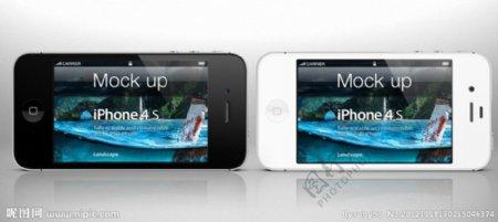 苹果黑白iPhone4S高清分层图片