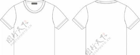 男装男童装短袖T恤款式图矢量图