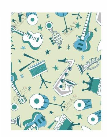 卡通乐器道具背景底纹