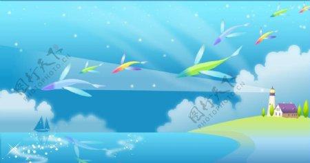 手绘海岸灯塔彩色飞鱼