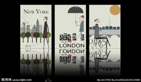 无框画装饰画卡通欧美伦敦纽约巴黎欧洲风格建筑
