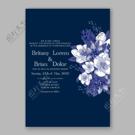 蓝色花朵婚礼请贴模板下载