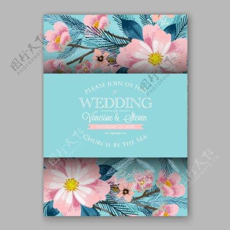 水彩植物花朵婚礼请贴矢量素材