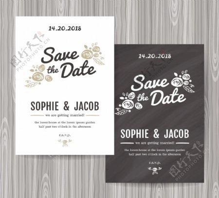 灰色英文字母和花朵婚礼请贴矢量素材