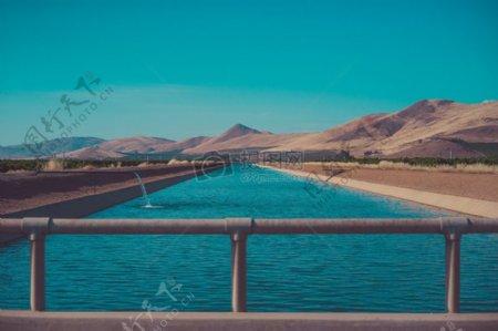 水沙漠运河绿洲灌溉