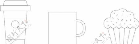 手绘线性饮料食物ico图标