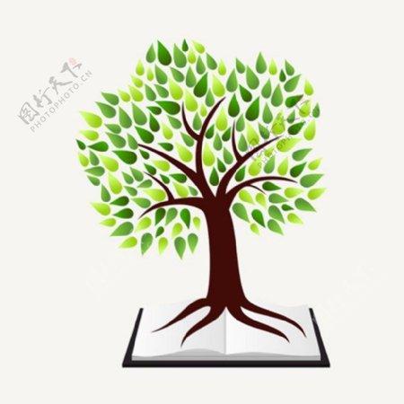 创意书本绿树背景图