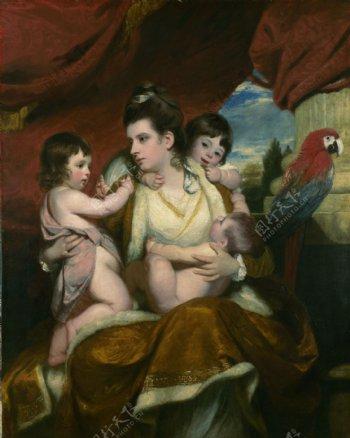 一家人体油画图片