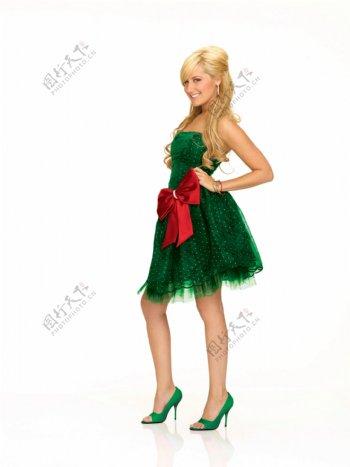 穿圣诞裙子的欧美女人图片