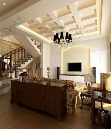 欧洲风格的休闲起居室