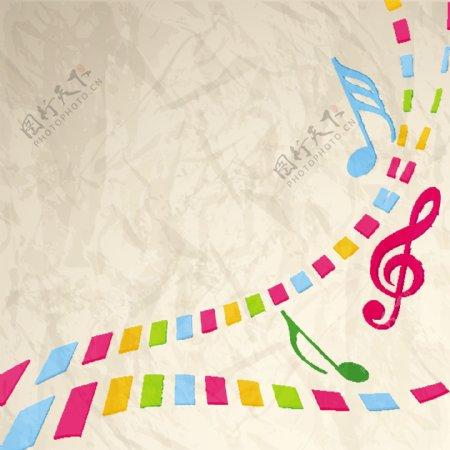 彩色方形图案和音符