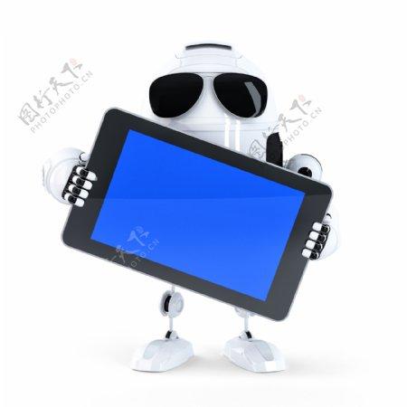 Android机器人持白屏移动装置