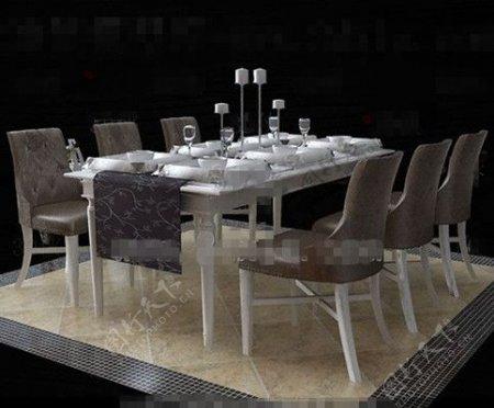 欧洲风格的白色餐桌组合