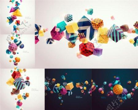 立体正方形图案设计矢量素材