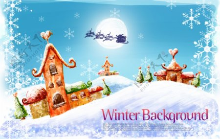 冬天梦幻背景素材圣诞节