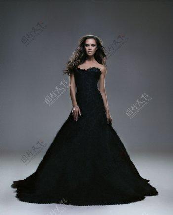 黑色婚沙女明星偶像图片