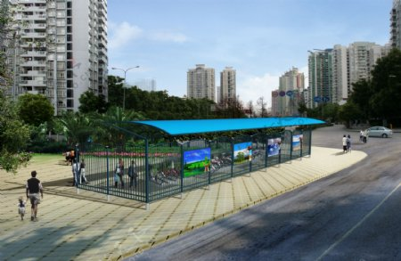 自行车棚环境设计图片