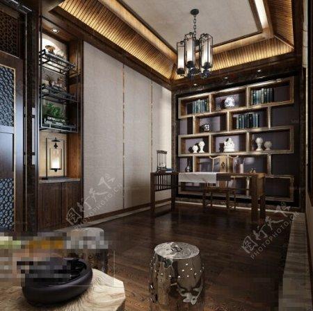 书房空间3D模型素材制作
