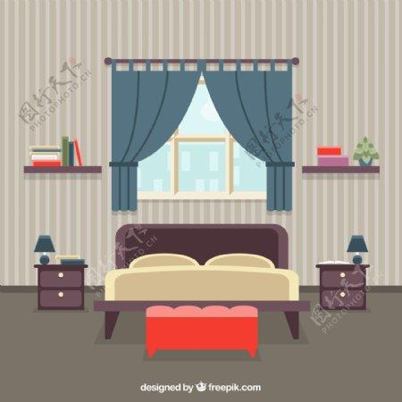 创意条纹壁纸卧室设计矢量素材