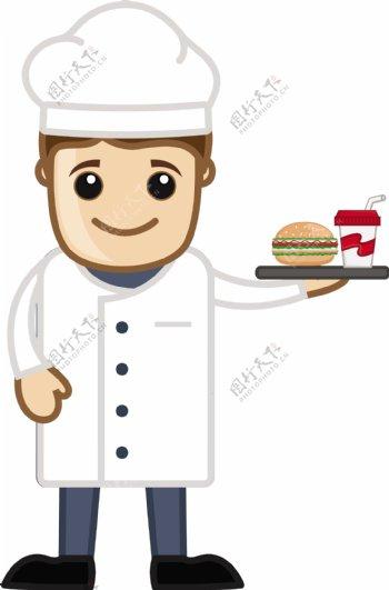 厨师午餐卡通商业矢量字符