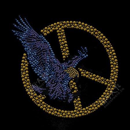 烫钻符号苍蝇老鹰免费素材