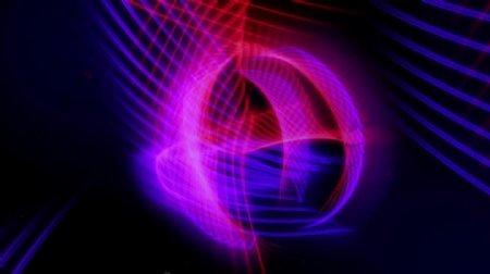 循环VJ视频素材三维彩线运动图形动画