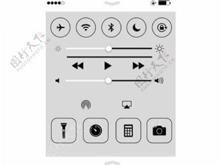 iOS7控制中心图标sketch素材