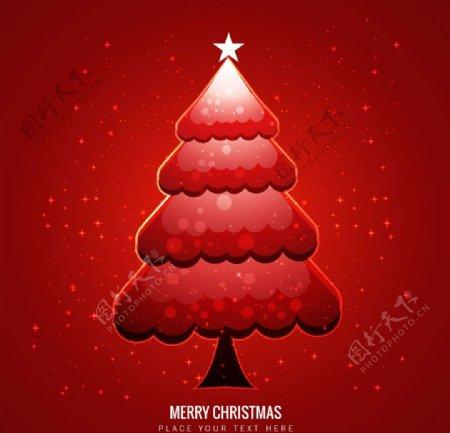 红色圣诞树背景