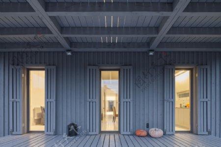 美式清新蓝色背景墙走廊室内装修效果图