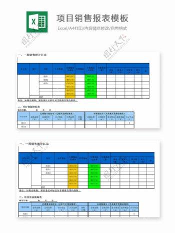 项目销售报表模板