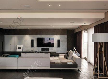 现代清新淡蓝色背景墙室内装修效果图