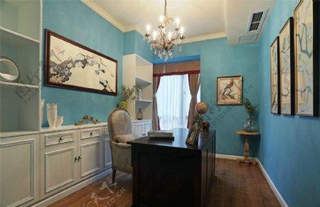 欧式时尚客厅蓝色背景墙室内装修效果图