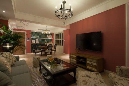 欧式客厅深粉色背景墙室内装修效果图