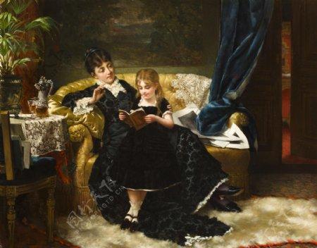 欧美女人小孩油画