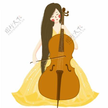 拉大提琴的美丽少女装饰元素